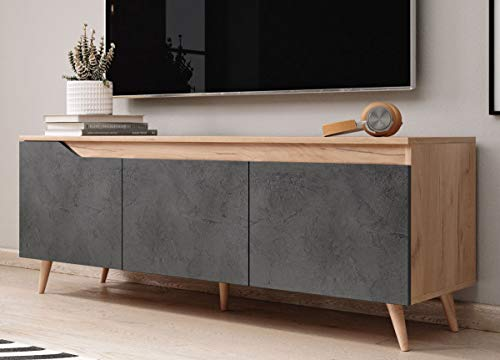 WFL GROUP Mobile TV Moderno - Color Legno - Style Scandinavo - 140 cm - Fino a TV da 55' Pollici - Rovere Chiaro - Grigio Cemento