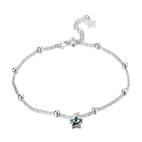 OMZBM 925 Sterling Silber Fußkettchen Schmuck Blau Österreich Crystal Star Einstellbare Armband Mädchen Plating White Gold