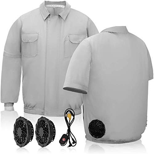 Ventilador portátil de media manga, circulación de aire controlada de 3 velocidades, funciona con pilas, ideal para obras de construcción de primavera y verano, gris, XXXL