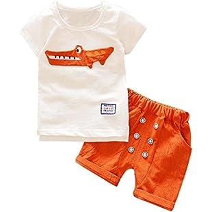 Clothes Set,Ba Zha ⚽ Toddler Kid Baby Boy Outfits Clothes Cartoon Print T-Shirt Tops+Shorts Pants Set Outsuit Toddler Kids 1PC Tops+1PC Pants Baby Boys Clothes Crocodile Print Shirt (3Y, Orange):Interoot