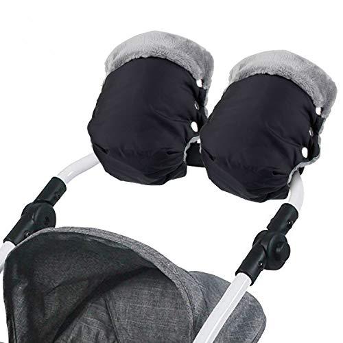 Kinderwagen Handwärmer, Mture Kinderwagen Handschuhe mit Warme Fleece und Baumwolle Innenseite, Wasserdicht und Winddicht Stroller Universalgröße für Kinderwagen, Buggy, Radanhänger (Schwarz)