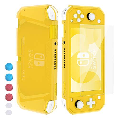 Schutzhülle für Nintendo Switch Lite, Heystop, weiche TPU-Schutzhülle für Nintendo Switch Lite mit Displayschutz aus gehärtetem Glas und Daumenstäbchen gelb