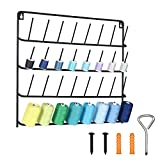 HAITARL 32-Spool Sewing Thread Rack, Wall-Mounted Metal Sewing Thread Holder with Hanging Tools, Metal Rack for Organize Sewing Thread, Embroidery-Suitable for Large Thread