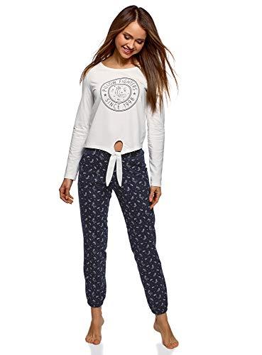 oodji Ultra Mujer Pijama de Algodón con Pantalones, Blanco, ES 36 / XS
