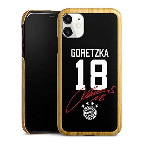 DeinDesign Holz Hülle kompatibel mit Apple iPhone 11 Holz Schutzhülle Echtholz Handyhülle Goretzka #18 FC Bayern München Trikot