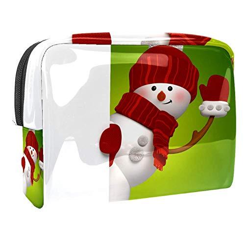 TIZORAX - Chapeau d'hiver - Écharpe de bonhomme de neige - Sacs cosmétiques en PVC - Trousse de toilette de voyage - Organisateur pratique pour femme