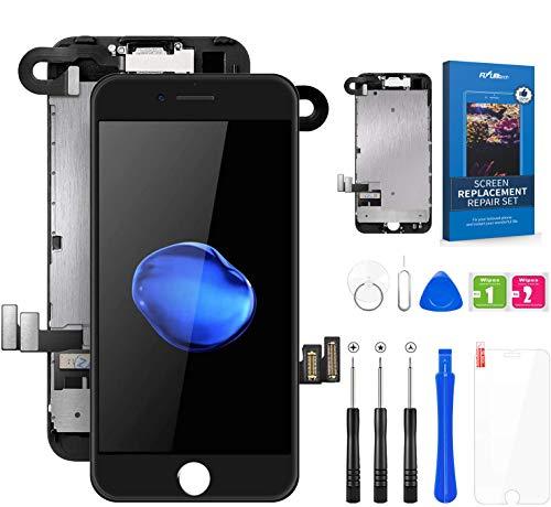 FLYLINKTECH Display per iPhone 7 Plus Schermo Nero Vetro 5,5' LCD Touch Screen Digitizer Parti di Ricambio (con Fotocamera, Sensore Flex, Altoparlante Auricolare) Kit Smontaggio trasformazione