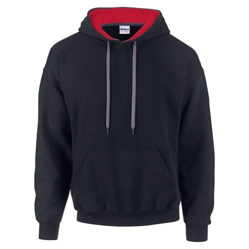 Gildan - Felpa con cappuccio da uomo, in tessuto misto pesante, colorazione in contrasto Sport Grey/Black L