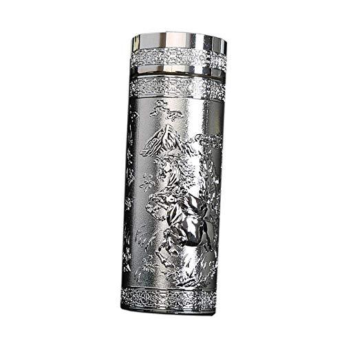 ZHFZD thermosfles van roestvrij staal, gepersonaliseerde thermosfles met dubbele waterbeker ZHFZD 500 ml zilver