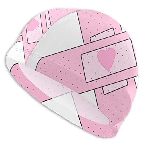 Quintion Robeson Liebevolle Pflaster-Schwimmen-Kappen-Dame Swimming Cap, Persönlichkeit-Erwachsene Jugendlich-Mädchen-Polyester-Schwimmen-Kappe