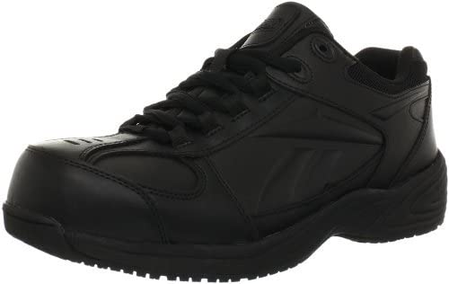 Reebok Mens Black Leather Street Sport Jogger Oxford Jorie Soft Toe