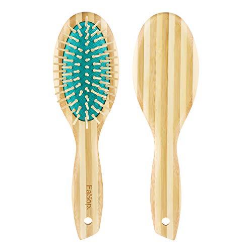 Massage Haarbürste mit Bambusborsten, FaSop. 7-reihige Bambusbürste, zum täglichen Durchkämmen und Entwirren der Haare, antistatisch für lange und dicke Haare, für Männer, Frauen & Kinder