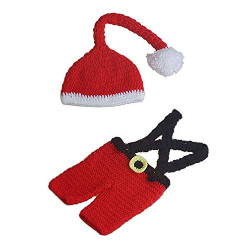0-1Years Old Newborn Baby Costume Christmas Santa Claus Shape Handmade Crochet Knitted Hat and Underwear Overalls Costume for Photography Red