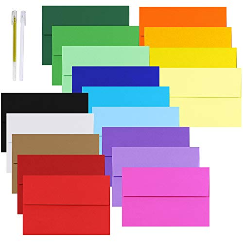 90 Pcs 18 Colors A8 Invitation Envelopes Self Seal Square Flap Envelopes for Wedding Party Invitation 5x7 Photo Envelope Reply Mailings Envelope Holiday Greeting Cards A7 A8 Flat Folded Cards Envelope