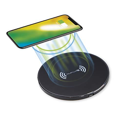 4smarts VoltBeam Style Wireless Charger Ladepad 10W Induktive Kabellose Ladestation Schnelles Qi Ladegerät Kompatibel mit iPhone SE 2020, 11 Pro, XS, Samsung S20, S10, S9, Huawei P40, P30 - Schwarz