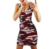 Kleid Damen Sommer Elegante Tarnung Rundhalsausschnitt Taschen LäSsige Swing Kurz T-Shirt Kleider Sommerkleidr