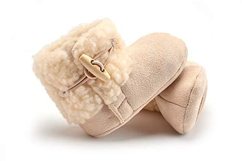 weichuang Babyschuhe für den Winter, echtes Leder, warme Schuhe, Pelzwolle, für Mädchen, Babyschuhe, Schaffell, für Jungen, Babyschuhe, Babyschuhe, Babyschuhe (Farbe: Khaki, Schuhgröße: 13 cm)