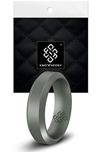 Knot Theory - Anillo de Silicona para Hombre (6 mm), Color Plateado Oscuro