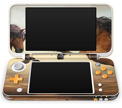 Skins4u Aufkleber Design Schutzfolie Skin kompatibel mit Nintendo NEW 2DS XL Zwei Pferde