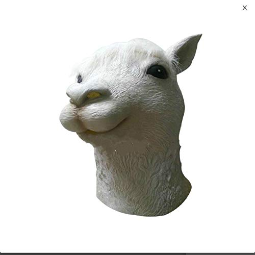 Winpavo Halloween-Deko Halloween Party Requisiten Máscara De Alpaca Animal Máscara De Látex para Adultos Cabeza De Oveja Cosplay Disfraz Accesorios De Halloween