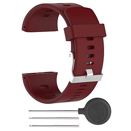 Für Polar V800 Watch Armband Silikon Sport Wasserdichte Armband Ersatz Uhrenarmband Silikon Sportarmband Replacement Watch Band Wrist Strap (Rot)