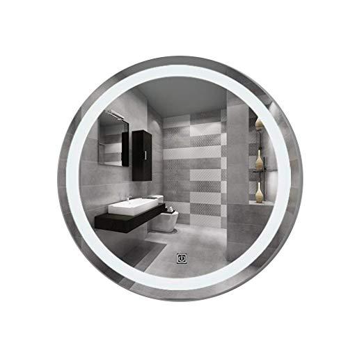 DERUKK-TY Espejo de pared con luz LED para el hogar, espejo plateado con botón táctil, simplemente decora el espejo (color: luces cálidas, tamaño: 80 x 80 cm)