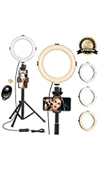 【Dimmable Ring Light&Upgraded Arcuated Lampshade】Necessity of 3 Colors Lighting Mode: warm light for party; cool light for work; natural light for daily use. 10 Levels of Brightness: easily switch color temp between 3,200K and 6,500K to meet all your...