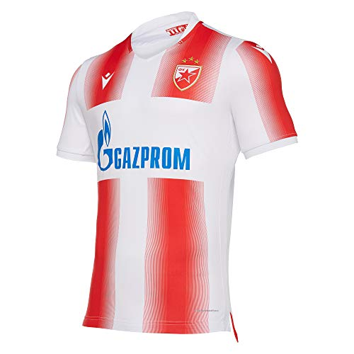 Macron Fanartikel Roter Stern Belgrad · RSB UEFA CL Trikot Home 19-20 · Bekleidung Oberteil Hemd Jersey Shirt Heimtrikot · Unisex Damen Herren Frauen Männer · Saison 2019-2020, Erwachsene, Größe L