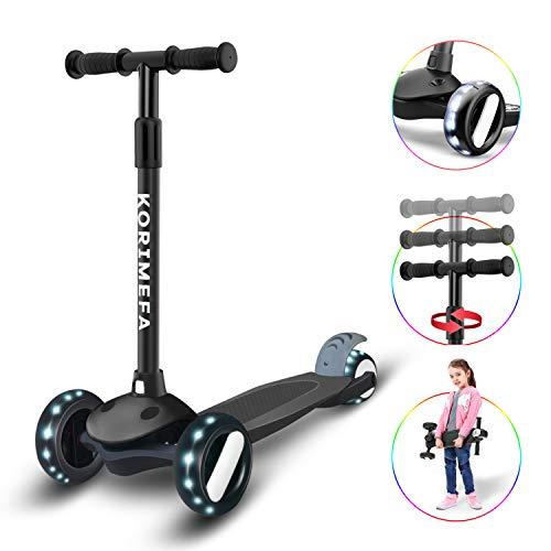 KORIMEFA Kinderroller ab 3 Jahre Dreiradscooter Höhenverstellbare Richtungssperre mit PU Leuchtenden Räder Kinder Roller 2-10 Alt