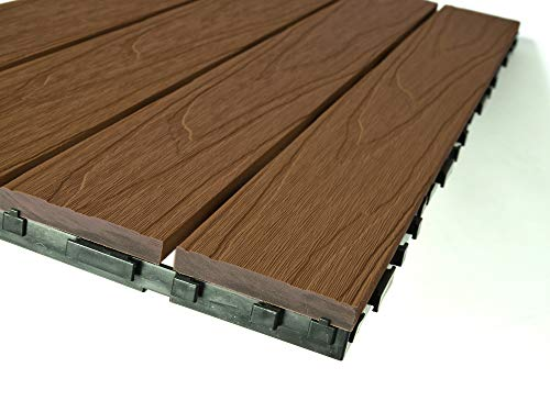 Dura Composites Garden Deck Tiles – Slip & Fade-Resistant Waterproof Decorative Composite Timber Decking – Smart…