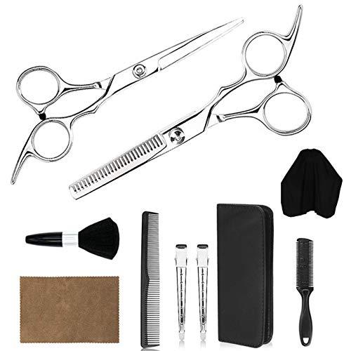 BATQER Tijeras, Conjunto de Tijeras de barbero de Acero Inoxidable de Plata, Herramientas Profesionales de Peluquero, Tijeras Planas y Tijeras de Dientes, Conjunto de 10 Piezas