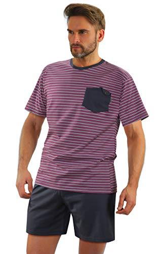 Sesto Senso Herren Schlafanzug Kurz Pyjama Baumwolle Kurzarm T-Shirt Pyjamahose Zweiteilig Set (M, 05 K67E)