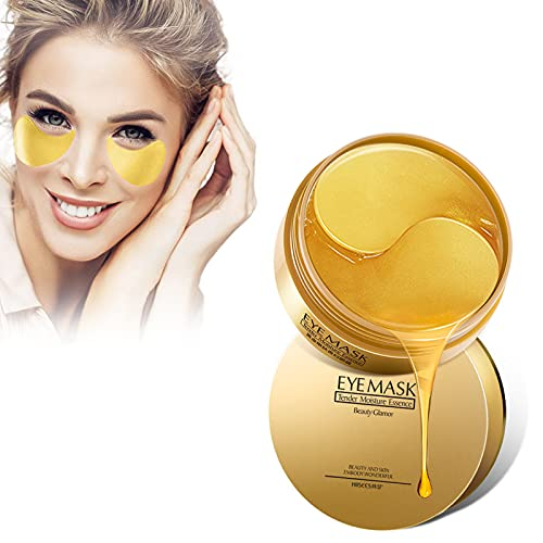 HGFG 30 Pairs Under Eye Collagen Patches Eye Masks with 24K Gold, Seaweed Eye Mask, Under Eye Gel Pads for Dark Circles and Puffiness, Anti-Wrinkle Moisturizing (Gold)
