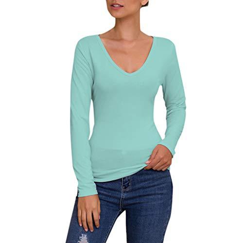 Herbst Winter Langarmshirt, Trisee V-Ausschnitt Bluse Slim Fit Oberteil Tops Einfarbig Strickpulli in vielen Trend Farben Tops Lässig Stretch Tunika