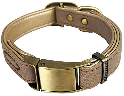DHGTEP Collar De Perro De Cuero Suave para Pitbull Collares Ajustables para Perros Pequeños Y Medianos (Color : Beige, Size : M)