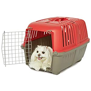MidWest Homes for Pets Spree Travel Pet Carrier, Dog Carrier Features Easy Assembly and Not The Tedious Nut & Bolt Assembly of Competitors, Red, 24-Inch Small Dog Breeds (1424SPR)