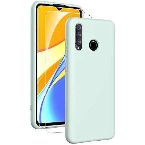 Oududianzi - Funda para Huawei P30 Lite con 2 Pack Protector de Pantalla de Vidrio Templado, Funda de Silicona Líquida Suave Case de Goma Ultrafina a Prueba de Choques de Color Puro - Menta