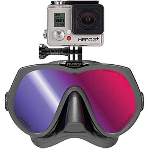 diving mask for go pros Diving Mask for GoPro Cameras Black Silicone UV Ray Blocking Tint - Real Frameless - Built-in Stainless Steel Camera Mount - Two Mask Straps & High Torque Mounting Screw - GoMask Ironmann by XS Foto (MA610RM)