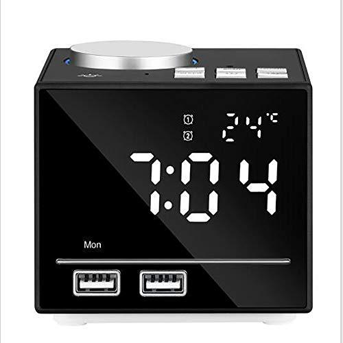 XBR Digitale led-wekker, nachtkastje met smart display, grote led met snooze/helderheid instelbaar/spiegeloppervlak/12/24-uurs-systeem
