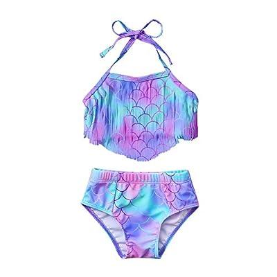 Toddler Baby Girl Bathing Suits Infant String Triangle Tassel Bikini Halter Tankini 2 Piece Mermaid Bikini Swimsuit for Girls 12-18 Months Blue