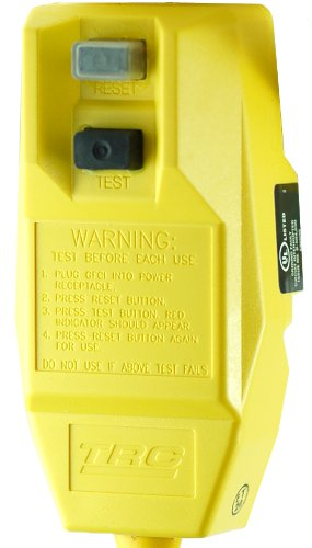 TRC 14880 226-6 12/3-Gauge Shockshield GFCI Protected Right Angle Plug Tri-Cord with 3-Lighted Outlets, Yellow