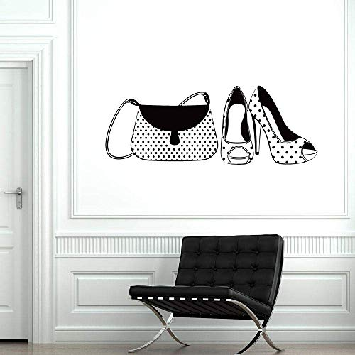Zapatos Bolso Calcomanía De Pared De Vinilo Para Niñas Mujer Moda Tienda Estilo Pegatinas De Ventana De Pared Mural Decoración Del Hogar Calcomanías De Dormitorio 57X21 Cm