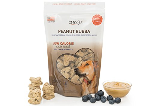 Dog Training Treats Peanut Butter - Vegetarian, Organic, Baked & Crunchy - Low Calorie Diet Treats for Puppy or Large Pets - All Natural Fiber, No Grain, Gluten - Blueberry Fruit, Made in USA