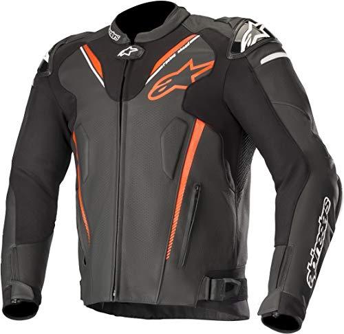 Alpinestars Motorradjacke Atem V3 Leather Jacket Black Red Fluo, Schwarz/Rot, 50