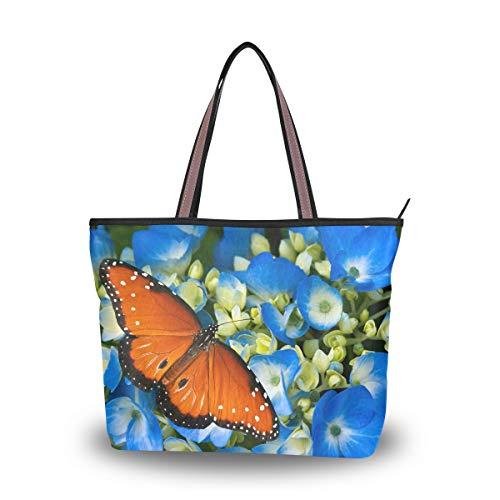 WowPrint Damen Handtasche mit Tiermotiv und Schmetterlingen, große Kapazität, Schultertasche für Schule, Arbeit, Reisen, Einkaufen, Strand
