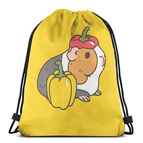 Rucksack mit Kordelzug, Schultasche, Gemüse, Obst, Kirsche, Tomaten und Meerschweinchen, tragbar, geeignet für Schule, Sport, Reisen, Geburtstag, Party, Strand, Schwimmen