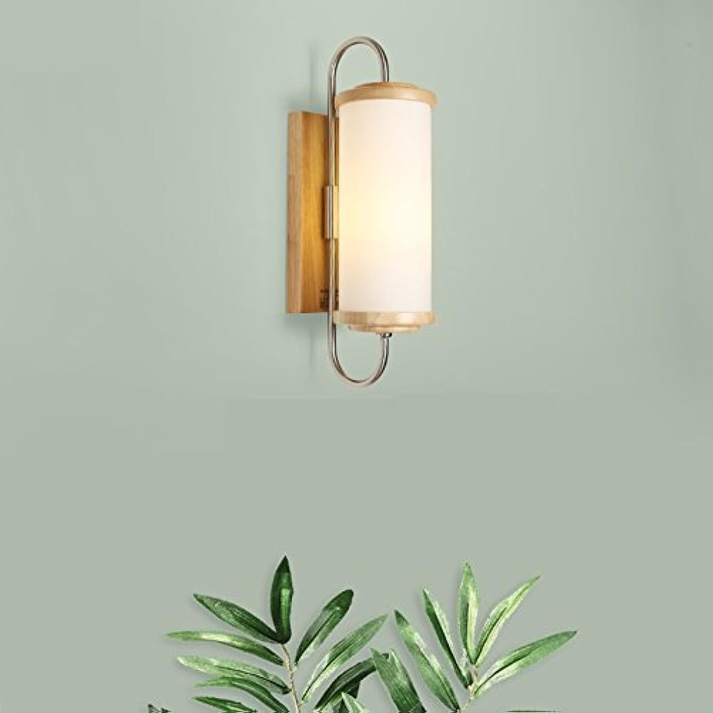 QIANGQIEinfache und kreative moderne japanische Stil Massivholz LED Wohnzimmer Korridor Lampe Schlafzimmer Nachttischlampe aus Holz Wandlampe