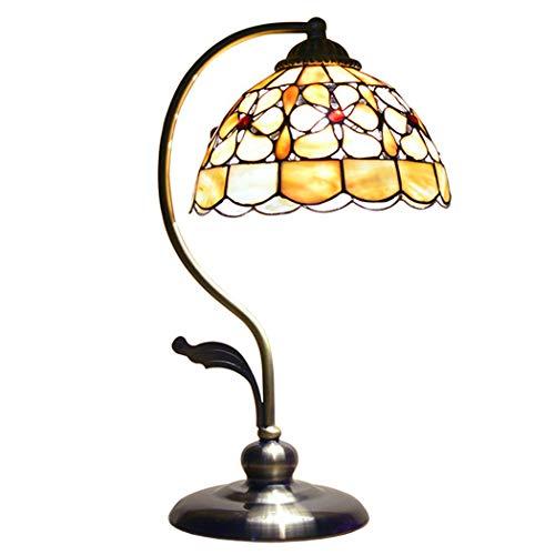 LONGSAND Lámpara de Mesa de Shell del Estilo de Tiffany 8 Pulgadas Europea Escritorio Pastoral Retro Floral de la lámpara de Las Luces de Lectura de la Sala de Estar Dormitorio Dresser Biblioteca