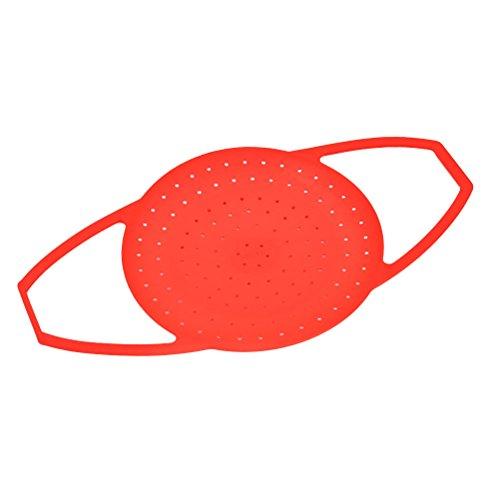 BESTONZON Cestino per vapore in silicone con manico per pentola istantanea - S (rosso)