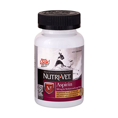 Nutri-Vet Asprin Chewables for Large Dogs | Relieves Pain and Inflamation | 75 Count